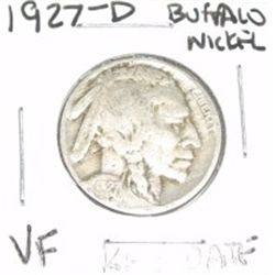 1927-D Buffalo Nickel RARE KEY DATE *VERY FINE GRADE - NICE COIN*!!