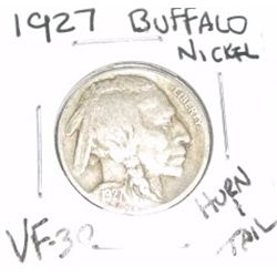 1927 Buffalo Nickel RARE HORN & TAIL *VERY FINE-30 GRADE - NICE COIN*!!