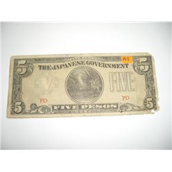 World War II Occupied Japanese 5 Pesos Bill *PLEASE LOOK AT PICTURE TO DETERMINE GRADE - NICE NOTE*!