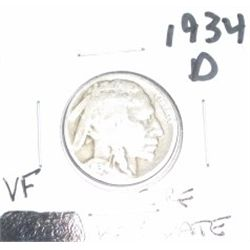 1934-D Buffalo Nickel *RARE KEY DATE VERY FINE GRADE - NICE COIN*!!