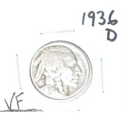 1936-D Buffalo Nickel *VERY FINE GRADE - NICE COIN*!!