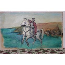 """OIL ON CANVAS BY MATTHEW ORANTE 60"""" X 35.5"""" UNFRAMED - LEADING THE CHARGE - MINT COND. - 1959"""