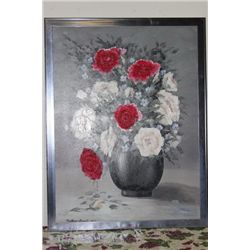 """ROSES OIL ON CANVAS BY MATTHEW ORANTE - 51"""" X 39"""" - 1997 - MINT"""