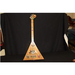 """LITHUANIA 3 STRINGED INSTRUMENT HAND MADE BY ARTIST MATTHEW ORANTE - HIGHLY DECORATED SCENIC 31"""""""