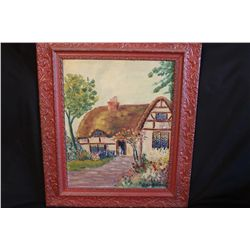 "COTTAGE OF DAILIDE PAINTED BY MATTHEW ORANTE 1939 OIL ON CANVAS BOARD - 16"" X 20"""
