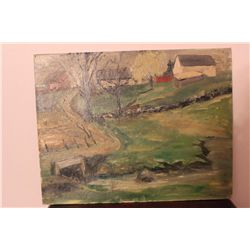 "OIL ON BOARD LANDSCAPE 14"" X 18"" BY MATTHEW ORANTE 1954"