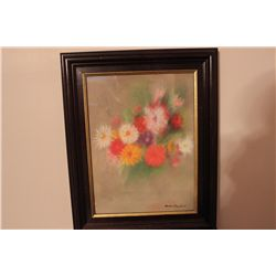 "FRAMED STILL LIFE FLORAL OIL ON CANVAS BY MATTHEW ORANTE 12"" X 16"""