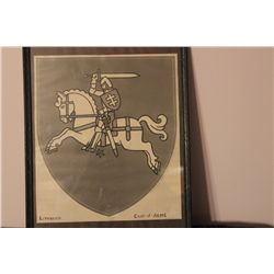 "LITHUANIA COAT OF ARMS BY MATTHEW ORANTE 12"" X 10"" - 1940"