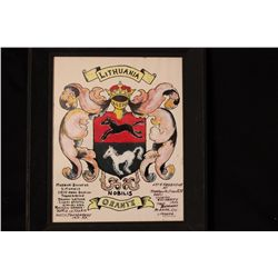 "ARMS OF ORANTE RESEARCHED IN 1950 BY MATTHEW ORANTE - PAINTED IN 1952 - 12"" X 10"""