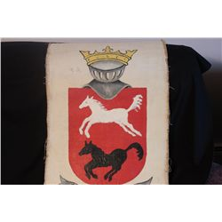 "OIL ON CANVAS 42"" X 21"" ORANTE COAT OF ARMS"