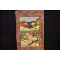 "3 LANDSCAPE OILS BY MATTHEW ORANTE OF LITHUANIA - 3.75"" X 3"" ON LITHUANIA PLYWOOD - 1974"