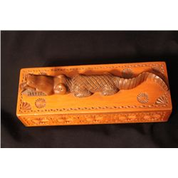 "CARVED WOODEN BOX BY MATTHEW ORANTE - 1939 - 10.5"" X 3.5"""