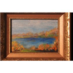"FRAMED ACRYLIC ON CANVAS BOARD BY MATTHEW ORANTE TITLED ""AUTUMN POND 2"" - 1992 - 10.25"" X 8.25"""