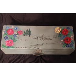 "PAINTED DECORATED WOODEN BOX BY MATTHEW ORANTE - 1964 - 24"" X 8"""