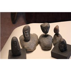 FIVE MOUNTED STONE CARVINGS BY MATTHEW ORANTE - ALL 1970S