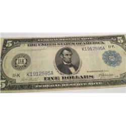 1914 $5 Federal Reserve Note, VF