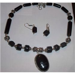 CUSTOM MADE STERLING SILVER ONYX NECKLACE WITH EARRINGS