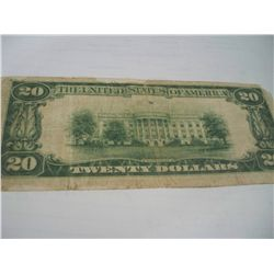 VERY SCARCE 1929 $20 TAYLOR NATIONAL BANK NOTE
