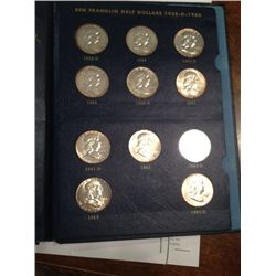 COMPLETE SET 1948 TO 1963 FRANKLIN SILVER HALF DOLLARS