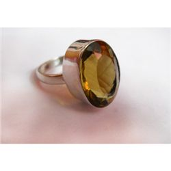 Natural 32.ctw Citrine Oval Ring .925 Sterling Silver