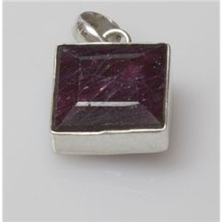 Natural 8.85 g Ruby Square .925 Sterling Silver Pendant
