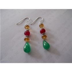 29.25 ctw Ruby and Emerald .925 Sterling