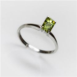 Natural 2.50 ctw Peridot Emerald Cut .925 Sterling Ring