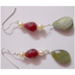 Natural 37.50 ctw Semi Precious Earring .925 Sterling