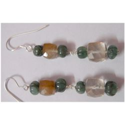 Natural 33.85ct Emerald/Semi Precious Earring .925 Ster