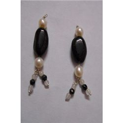 Natural 22.40ct Pearl,Semi Precious Earring .925 Sterli