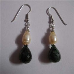 35.0 ctw Emerald and Pearl Earrings .925 Sterling