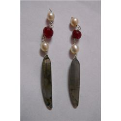 Natural 22.60ct Pearl,Ruby,Semi Precious Earring .925 S