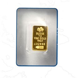 Suisse 1 gram Fine Gold (999.9) Serial No. 432898,24 CT
