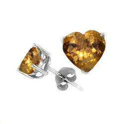 Natural 2.10 ctw Citrine Heart Earrings .925 Sterling