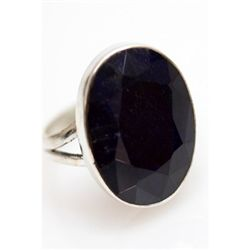 Natural 30.85 ctw Sapphire Oval Ring .925 Sterling