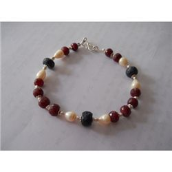 136.15 ctw Ruby Pearl and Emerald Bracelet .925 Sterlin