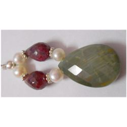 Natural 34.85ct Pearl/Ruby/Semi Precious Pendant .925 S