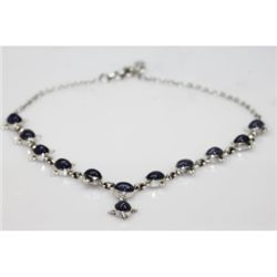 NATURAL106.70CTW. TANZANITE OVAL NECKLACE .925 STERLI