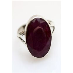 Natural 22.18 ctw Hazonight Garnet Oval Ring .925 Sterl