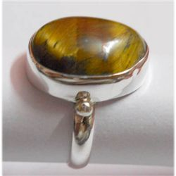 Natural 27.20 ctw Tiger Eye Oval Ring 925 Sterling