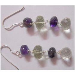 Natural 31.25 ctw Semi Precious Earring .925 Sterling