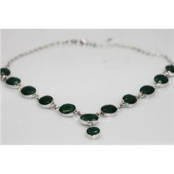 NATURAL 113.95 ctw. GRAMS EMERALD OVAL NECKLACE .925 ST