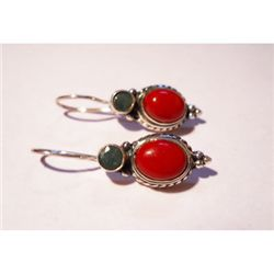 Natural 26.70 ctw Semi-Precious Earrings .925 Sterling