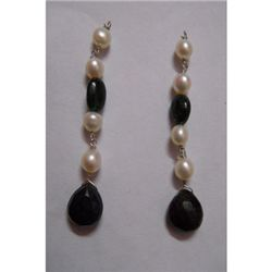 Natural 19.45ct Pearl,Semi Precious Earring .925 Sterli