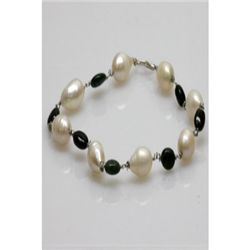 Natural 42.35ct Emerald,Pearl Bracelet .925 Sterling