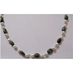 Natural 93.15ct Sapphire/Pearl Necklace .925 Sterling
