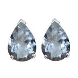 Natural 2.10 ctw Aquamarine Pear Earrings .925 Sterling