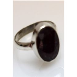 Natural 20.38 ctw Hazonight Garnet Oval Ring .925 Sterl