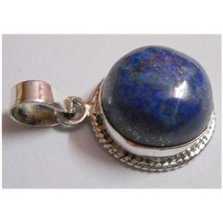 Natural 25.75 Lapis Round Pendant .925 Sterling Silver