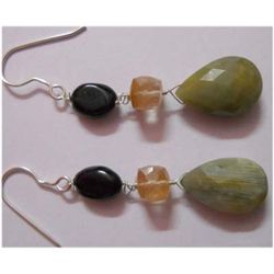 Natural 34.05 ctw Semi Precious Earring .925 Sterling
